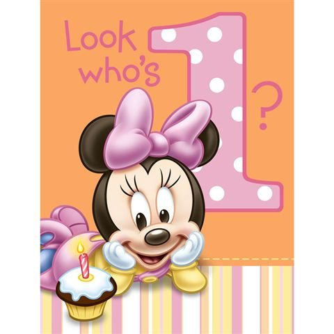 Minnie Mouse 1St Birthday Invitations 8Pk front-1067693