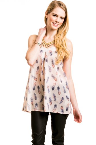 Feather Print Sweetheart Camisole In Blush