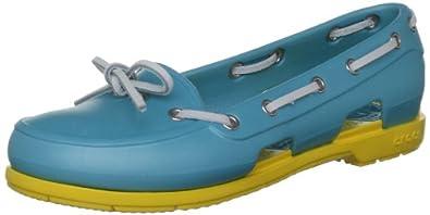 crocs Beach Line Boat Shoe W 14261-442-413, Damen Bootschuhe, Blau (Aqua/Yellow 442), EU 34/35