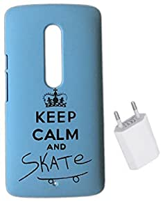 YGS Printed Matte Back Cover Case For Motorola Moto X Play -Blue With Flat Wall Charger