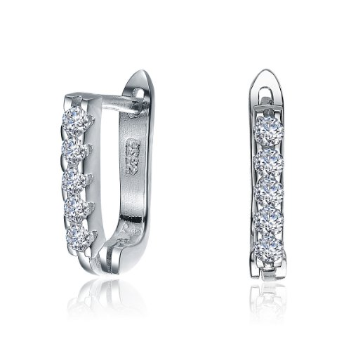 Charming Sterling 925 Silver Huggie Earrings Featuring Channel Set Round CZ Diamonds - Incl. ClassicDiamondHouse Free Gift Box & Cleaning Cloth