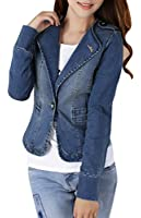 Yasong Women Ladies Girls Slim Fitted Long Sleeve Denim Light Wash Faded Jean Jacket Casual Suit Peplum Jacket Blazer One Button