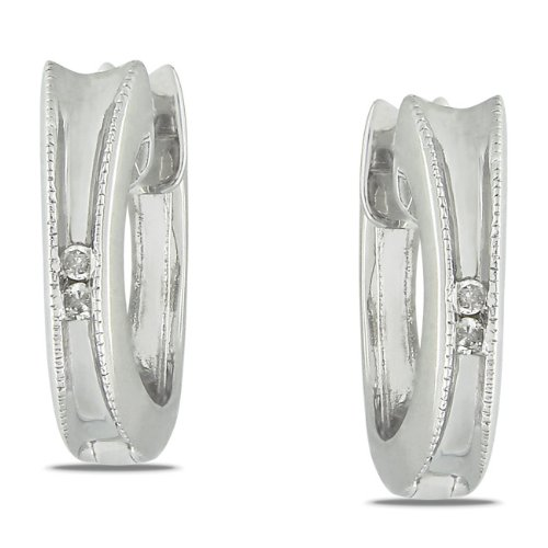 Sterling Silver 0.02 CT TDW Diamond Huggie Earrings (G-H, I2-I3)