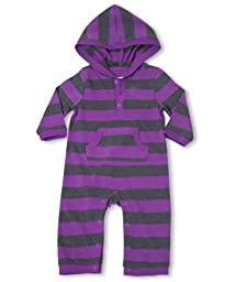 Leveret ''Striped Cotton Romper'' (6-12 Months, Purple & Gray)