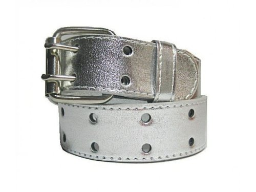 Girls Two Hole Perforated Genuine Leather Jean Belt Silver Large