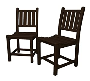 POLYWOOD Outdoor FurnitureTraditional Dining Chair, Set of 2, Mahogany-Recycled Plastic Materials