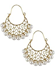 The Jewelbox Filigree Antique Gold Plated Pearl Bali Earring For Women