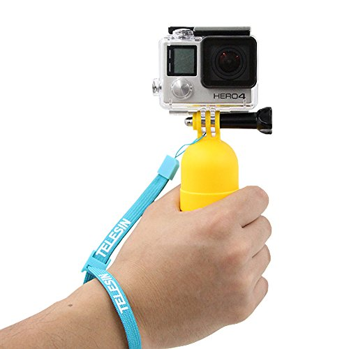 TELESIN Water Sports Dive Buoy Handheld Floaty Bobber Handle Floating Hand Grip for GoPro Hero4 Hero3+/3 Cameras Tripod/Pole Mount for Underwater Photography Yellow