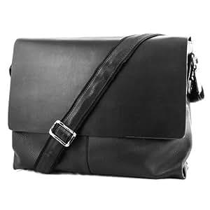 Classic Soft Leather Man's 15-inch Laptop Business Messenger Bag (Black)