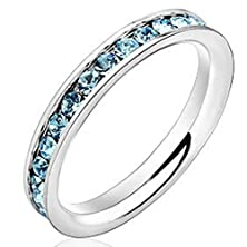 buy Women 3Mm White Gold Stainless Steel Channel Set Light Blue Cz Inlay Ring Engagement Wedding Silver Band