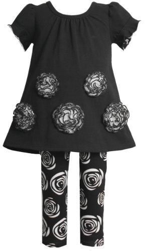Bonnie Jean Black White Rosette Short Sleeve Legging Outfit Fall 2T-6X
