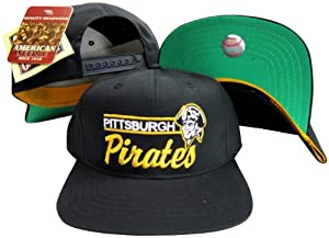 Pittsburgh Pirates Black Snapback Adjustable Plastic Snap Back Hat Cap by American Needle