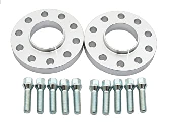 (2) 15mm 5×120 Wheel Spacers for BMW E39 74.1 to 72.6 Centerbore Adapters with Silver 12×1.5 Bolts