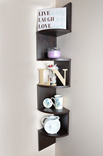 Adorn Large 5-Tier Corner Shelf, Wall Mount,Brown