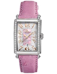 Gevril Women's 7248RE.10A Pink Mother-of-Pearl Genuine Ostrich Strap Watch