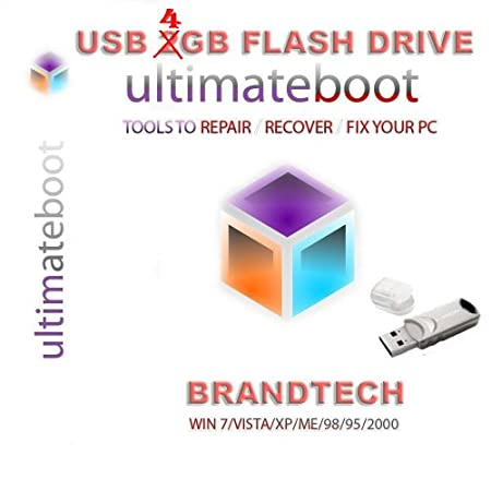 Advanced Ultimate Boot CD & 4GB USB Flash Drive / Disc Recovery Repair DOS Windows 7 XP Vista 95 98 - NEW 2012 Version 4.0