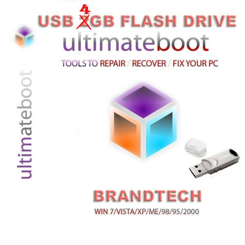 Advanced Ultimate Boot Cd & 4Gb Usb Flash Drive / Disc Recovery Repair Dos Windows 7 Xp Vista 95 98 - New 2012 Version 4.0 front-882489