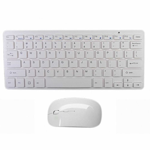 "Lb1 High Performance New Ultra-Slim Wireless Keyboard And Optical Mouse Combo Portable For Hp Elitebook Revolve 810 G1 D3K51Ut 11.6"" Tablet Laptop Computer Silver (White)"