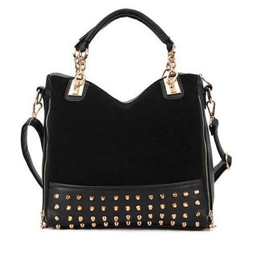 Daditong Black Fashion Womens Rivet Studded Tote Medium Handbag Shoulder Bag Tote