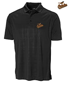 Baltimore Orioles Mens DryTec Sullivan Embossed Polo Shirt Black by Cutter & Buck