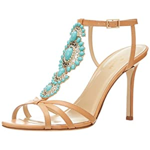kate spade new york Women's Idelisa Dress Sandal,Light Camel/Vacchetta/Turquoise Stones,8 M US