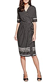 Border Printed Jersey Wrap Dress [T62-3704K-S]