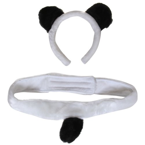 Plush Panda Bear Headband Ears and Tail Costume Set - 1