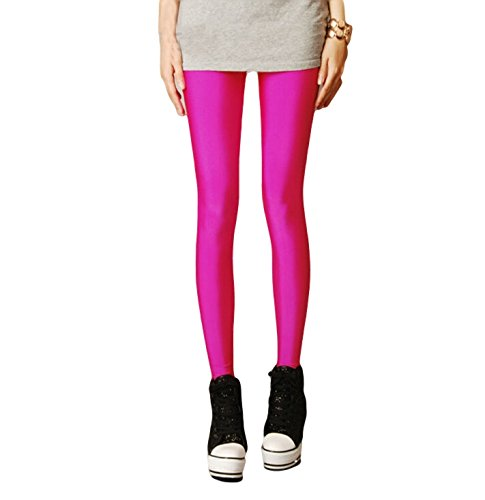 Shiny High Waist Punk Style Workout Exercise Leggings in Candy Pink.