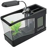 Multifunction Desk USB 5V LED Light Lamp Laptop Keyboard Light Mini Fish Tank Pen Holder with Alarm Clock Time Calender Temperature Display Black