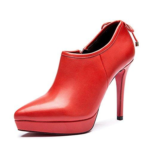 Boot de tube court Lady en Europe et en Amérique/Femelles pointus ultra hautes côté-Zip bottes imperméables