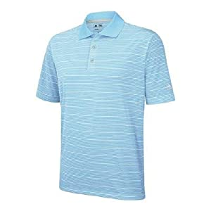 Adidas Golf Men's Climalite Two-Color Stripe Polo Shirt, Waterfall, XX-Large