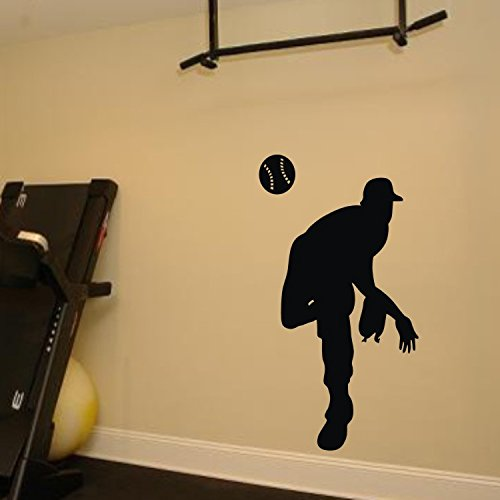 Olivia Baseball Player Wall Decals Vinyl Sports Silhouette Wall Stickers Removable Wall Decor Art For Teen Boys Girls Kids Bedroom Home Decorations