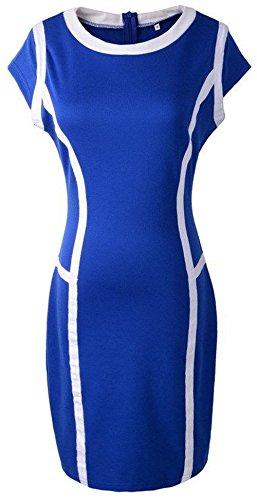 U-shot da donna color block elasticizzato aderente cocktail ball Wiggle Dress Blue 40