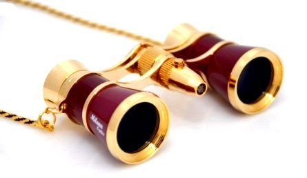 Finissimo Optics 3X25 Burgundy Opera Glasses With Chain Necklace And Red Reading Led Flashlight / Theater Binoculars / With Gold Trim