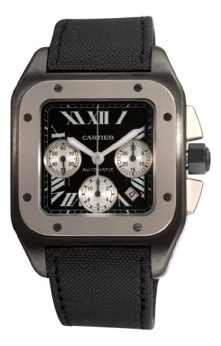 Cartier Men's W2020005 Santos 100 Chronograph Black Dial Watch