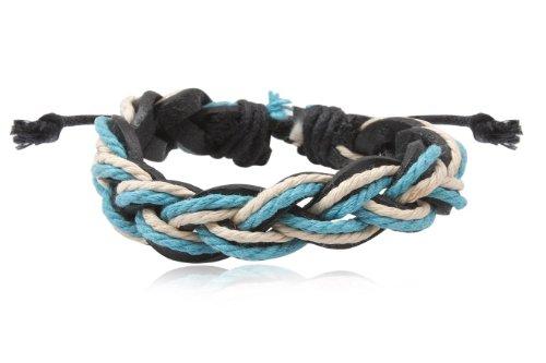 Fashion Black White & Blue Leather Wrap Cuff Rasta Plait Bracelet Bangle Men's Jewelry