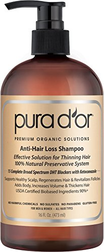 PURA D'OR Anti-Hair Loss Premium Organic Argan Oil Shampoo (Gold Label), 16