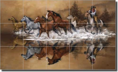 Western Cowboy Ceramic Tile Mural Backsplash 30 X 18 Stolen