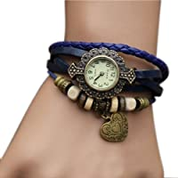 Docideal Blue New Womens Weave Wrap Bracelet Heart Pendant Quartz Retro Party Wrist Watch