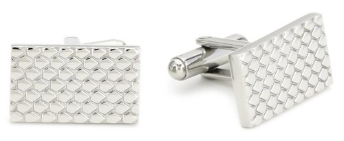 Stainless Steel With Designed Pebbles Cufflinks
