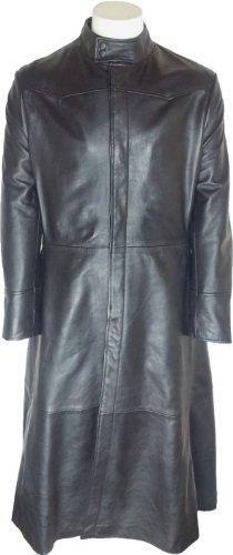 UNICORN Uomo Matrix Neo Autentico Vera Pelle Giacca Cappotto Lunghezza Lungo Nero #M4 Dimensione 48 (4XL)