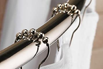 Polished Chrome SET of 12 High Quality Heavy Duty Roller Shower Curtain Rings
