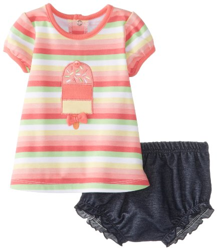 Kids Headquarters Baby-Girls Newborn Striped Top With Denim Diaper, Multi, 3-6 Months front-978395