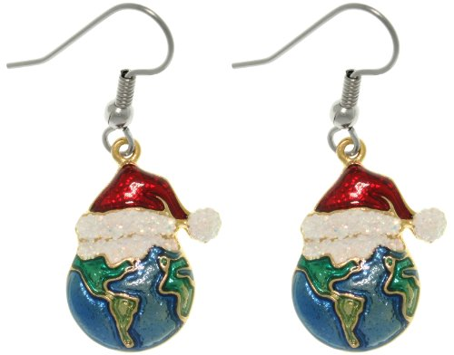 Cgc Pewter Holiday Joy To The Earth Christmas Earrings With Santa Hats
