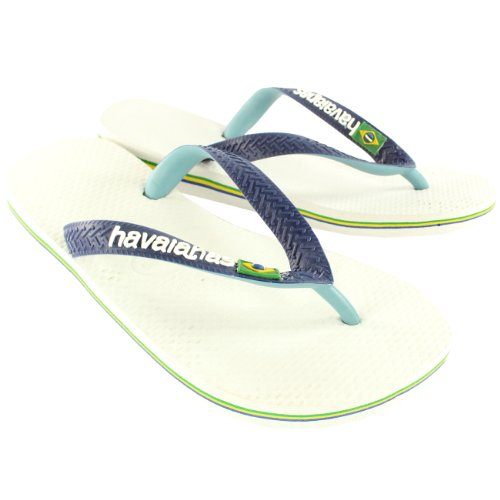 Womens Havaianas Brazil Mix Slip On Flip Flop Summer Beach Sandal - White/Navy Blue - 10/11