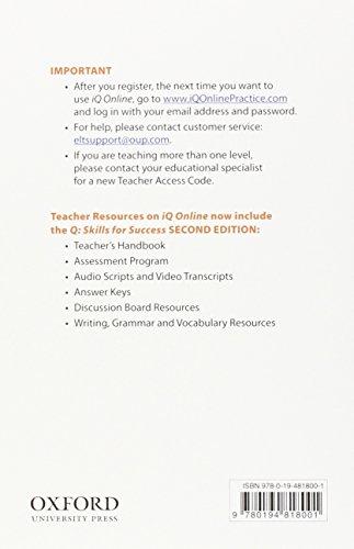Q Skills for Success: Teacher iQ Online Access Card