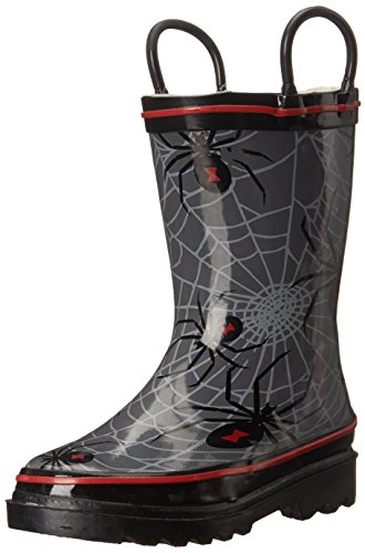 Western Chief Kids Spider Web Rain Boot (Toddler/Little Kid/Toddler), Charcoal, 7 M US Toddler