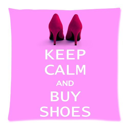 Generic Personalized Keep Calm And Buy High Heels For Zippered Throw Pillowcase 18X18 Inches (One Sides) front-489137