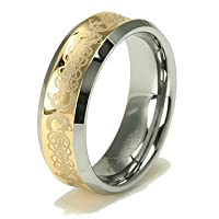 Concave Gold Inlay Celtic Tungsten Carbide Wedding Band Ring