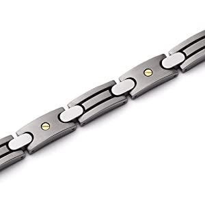 Revoni Mens Titanium Gold Riveted Italian Style Bracelet from Revoni